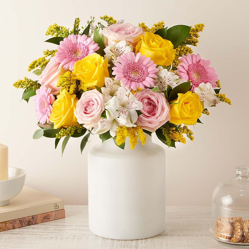 Vibrant Energy: Yellow and Pink Roses